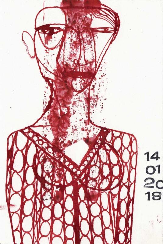 Feder/Tusche, 2018 17,2 x11,6 cm