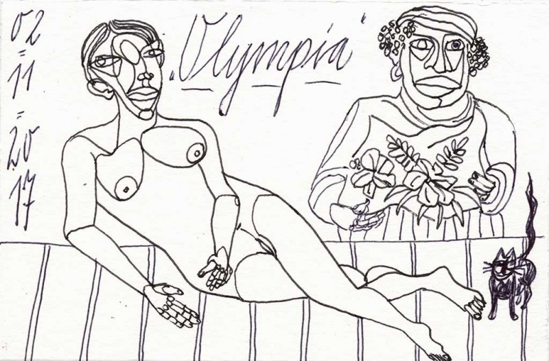 Olympia VII, 2017, Grafit 10 x 15 cm
