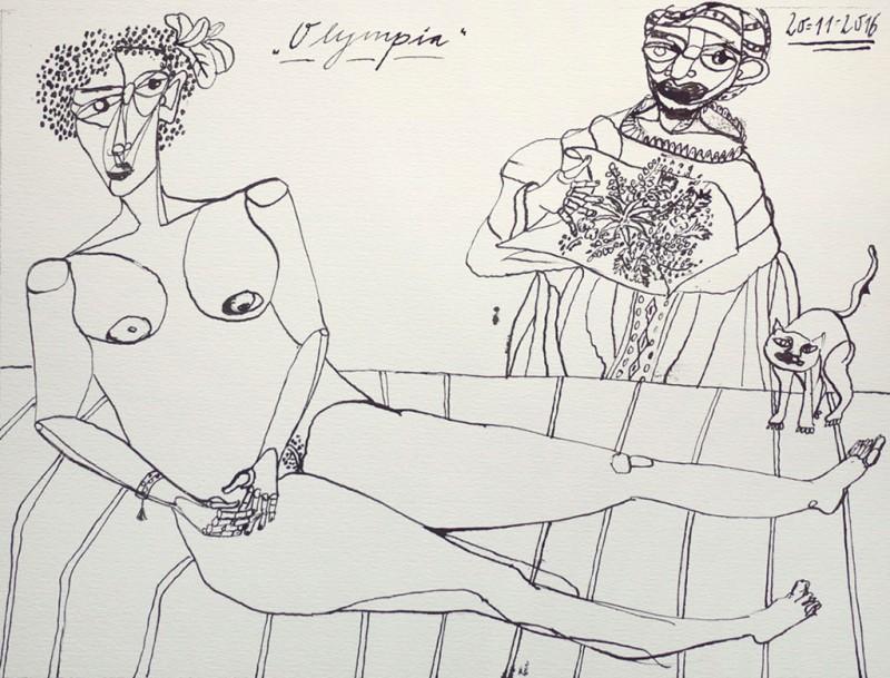 Olympia III, 2016, Tusche 42 × 59,4 cm